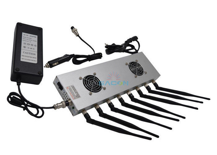8 Antennas 16w High Power Mobile Phone Jammer 2 Cooling Fans For Churches