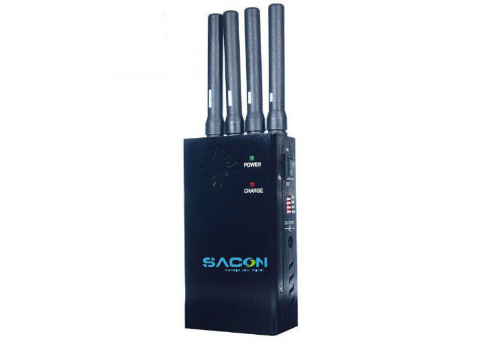 2w Black Portable 3G 4G Signal Jammer 4PCS Thick Antennas Shield Up To 10m